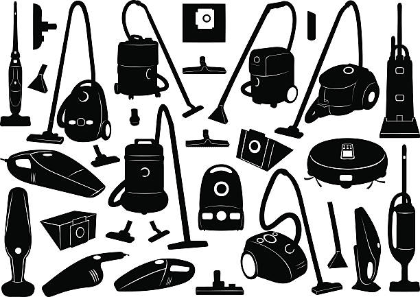 stockillustraties, clipart, cartoons en iconen met black icons of vacuum cleaners on white background - tapijtveger