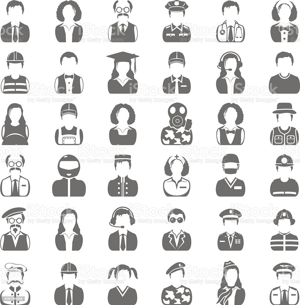 Black Icons - People vector art illustration