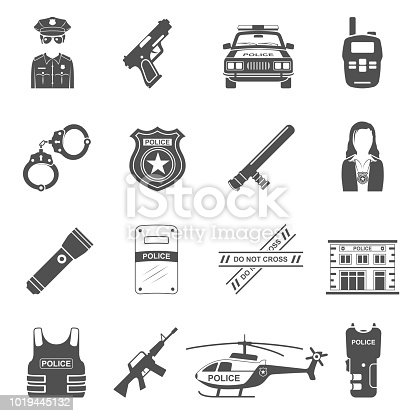 Set of sixteen police equipment icons