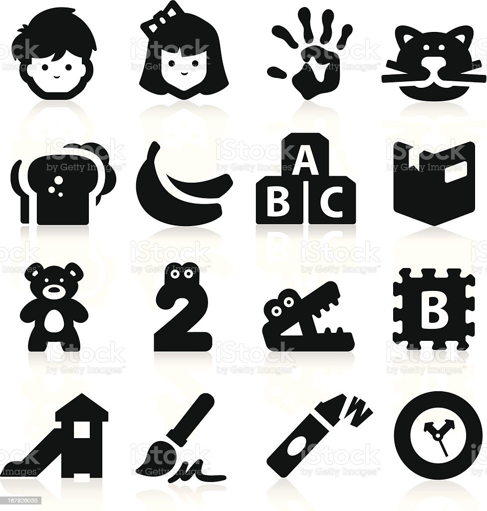 Black icons related to preschool vector art illustration