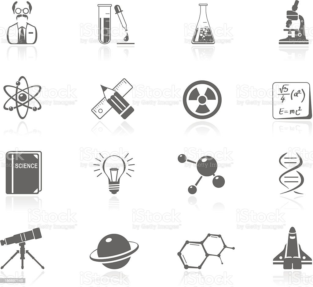 Black Icons - Science royalty-free stock vector art