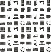 black icons set of home electronic household appliances