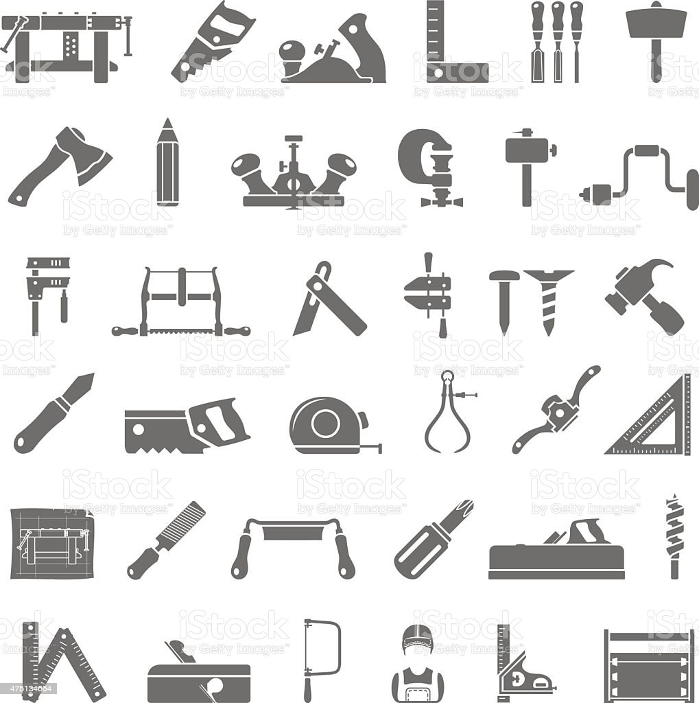 Iconos negros de carpintería tradicional - ilustración de arte vectorial