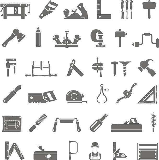 black icons - traditional woodworking - carpenter stock illustrations, clip art, cartoons, & icons