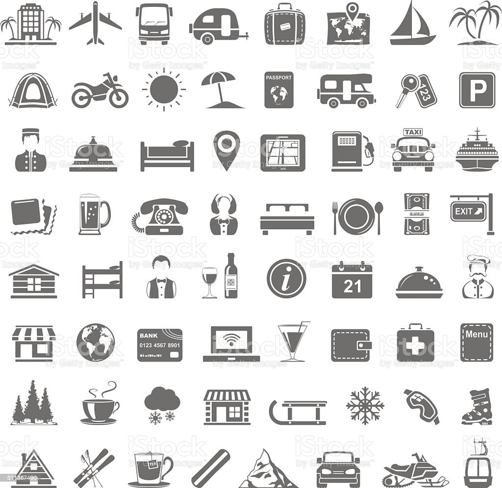 Black Icons - Travel vector art illustration