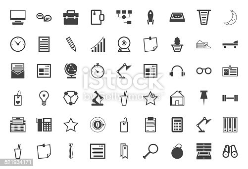 Set of 54 business and freelance black vector icons on white background.