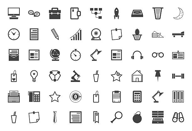 stockillustraties, clipart, cartoons en iconen met black icons vector collection for freelance and business - financieel item
