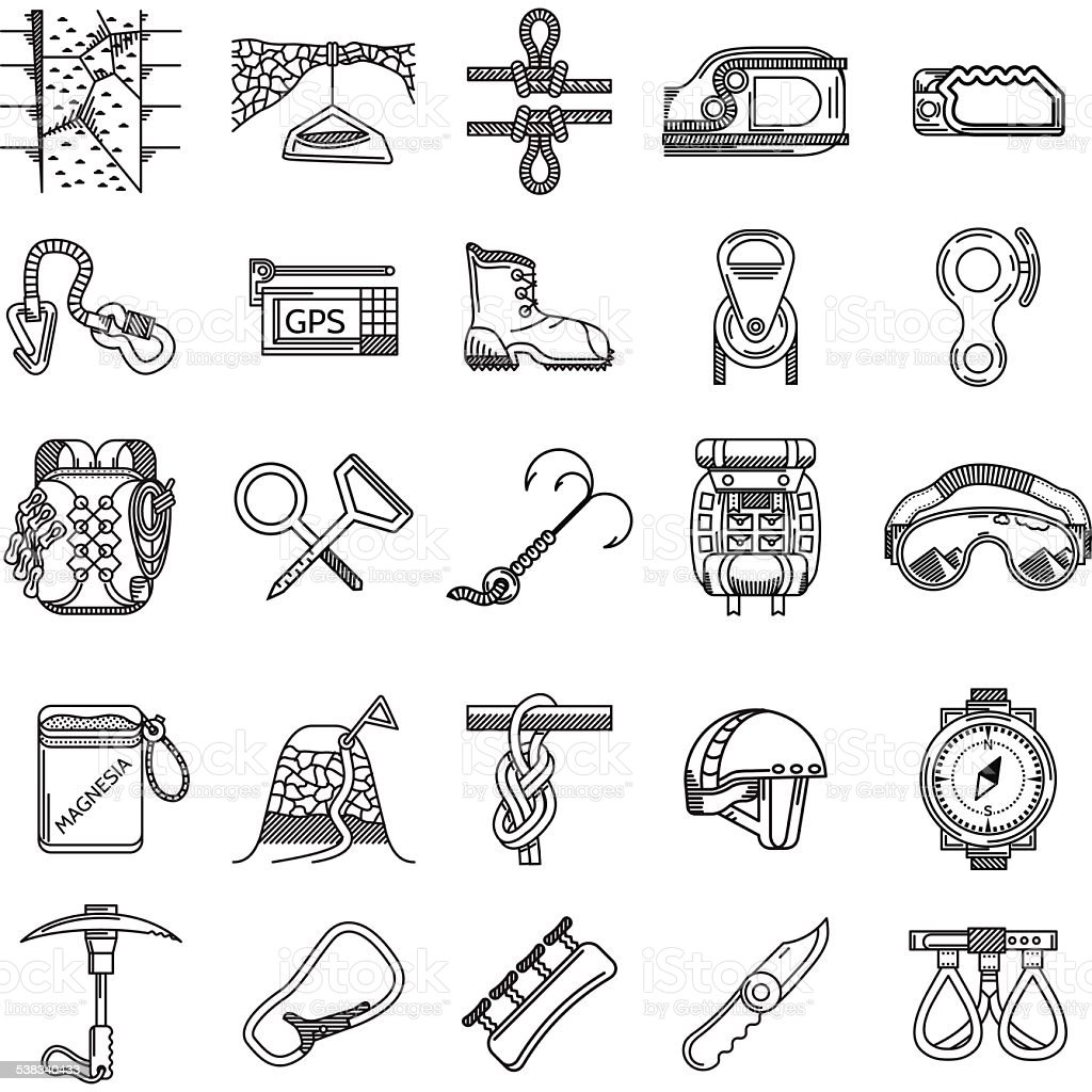 Black icons vector collection for rock climbing vector art illustration