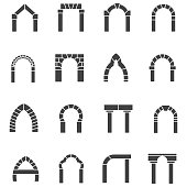 Black icons vector collection of arches
