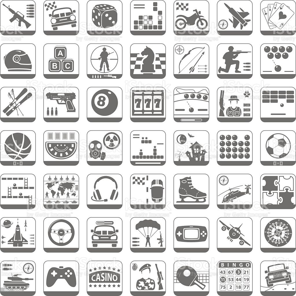 Black Icons - Video Games vector art illustration