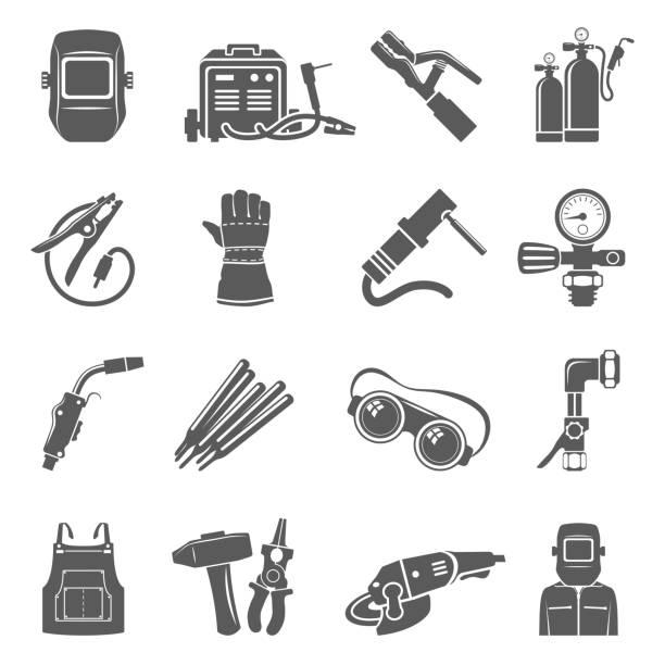 illustrazioni stock, clip art, cartoni animati e icone di tendenza di black icons - welding equipment - elettrodo