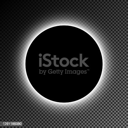 istock Black illuminated circle on transparent checked background. 1291186380