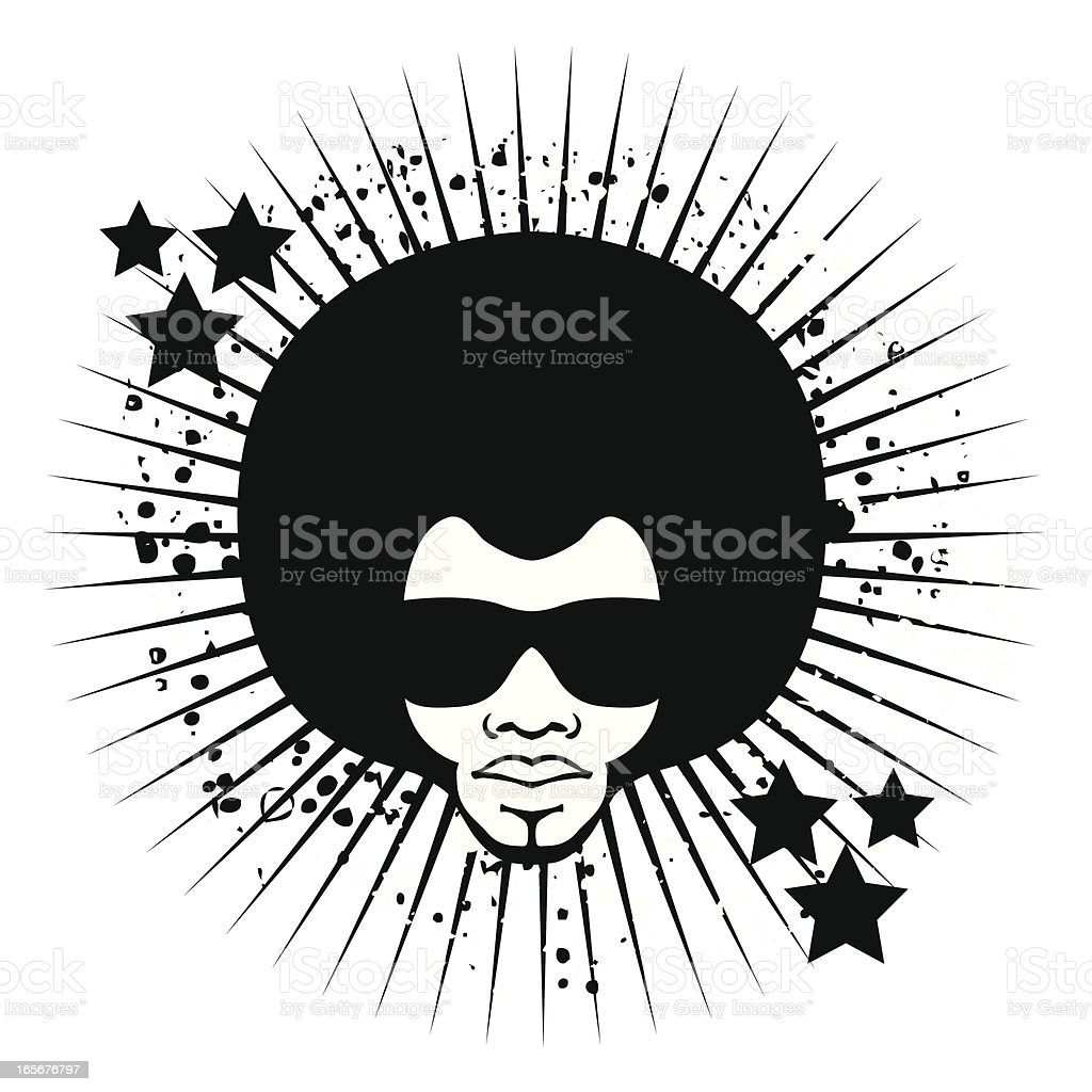 Black illustration of a funky looking head with glasses royalty-free stock vector art