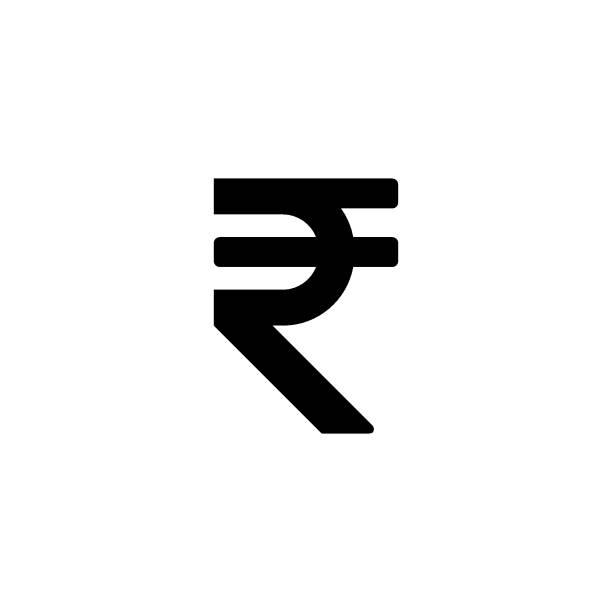 Black Indian rupee sign vector icon Black Indian rupee sign vector icon south caucasus stock illustrations