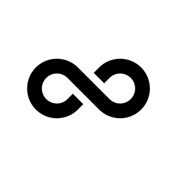 black infinity symbol icon. simple flat vector design element - signs and symbols stock illustrations
