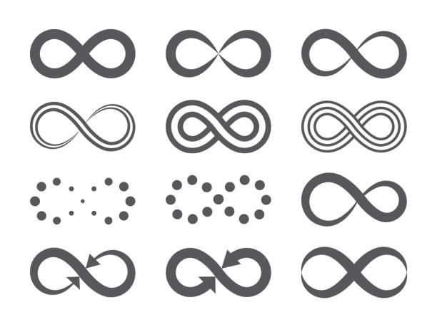 Black infinity symbols. Repetition icons and signs illustration on white background. Vector illustration flat design of black infinity symbols. Repetition icons and signs on white background. eternity stock illustrations