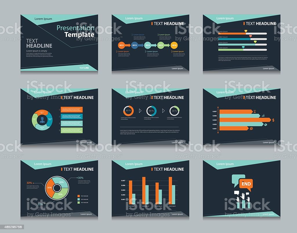 black infographic powerpoint template design backgrounds . business presentation template set vector art illustration