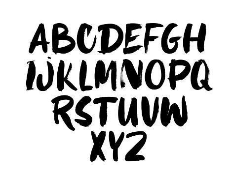 Black ink alphabet hand drawn vector template. Grunge dry brushstrokes letters design.