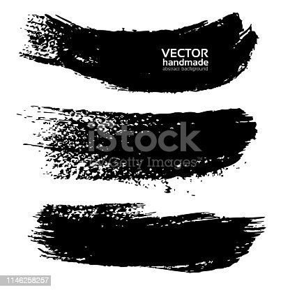 Black ink big paint long strokes set isolated on white background