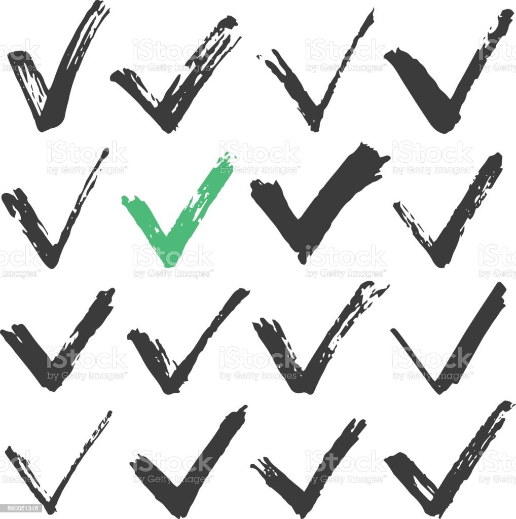 Black ink brush stroke check marks set, black brush checkmarks. Hand drawn style traced paint check marks, ticks concepts. Vector illustration vector art illustration