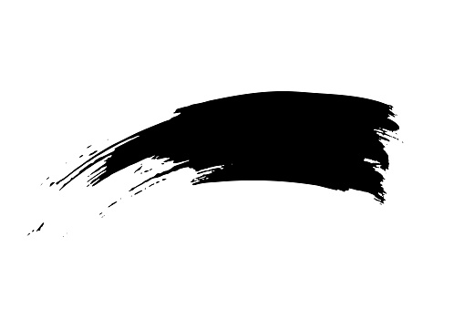 Black ink brush stroke. Chinese calligraphy black brush line isolated on white background. Dirty abstract grunge artistic design element for poster, banner, flyer. Vector illustration