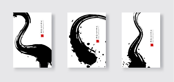 Black ink brush stroke on white background. Japanese style. Vector illustration of grunge wave stains.Vector brushes illustration.