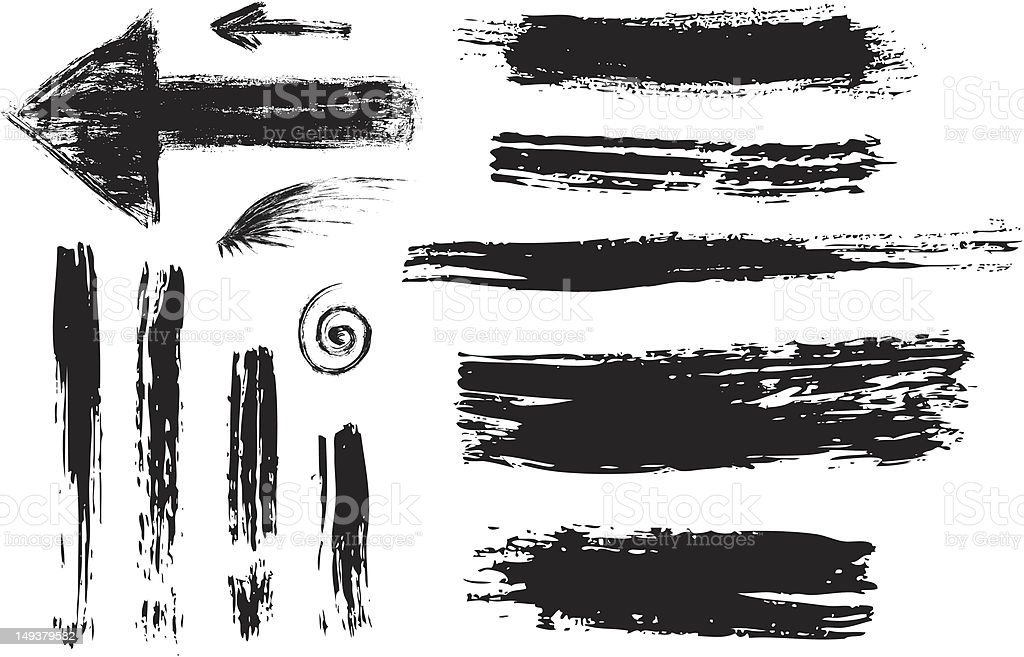 Black ink brush strokes of lines and arrows royalty-free stock vector art
