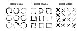 Black ink brush strokes vector set. Freehand dry brush lines. Grunge style geometric elements, circles, squares, crosses.