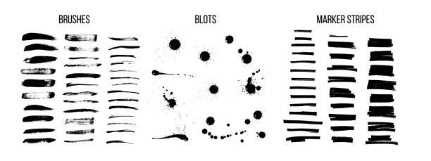 zestaw wektorów pędzla z czarnym tuszem - farba stock illustrations