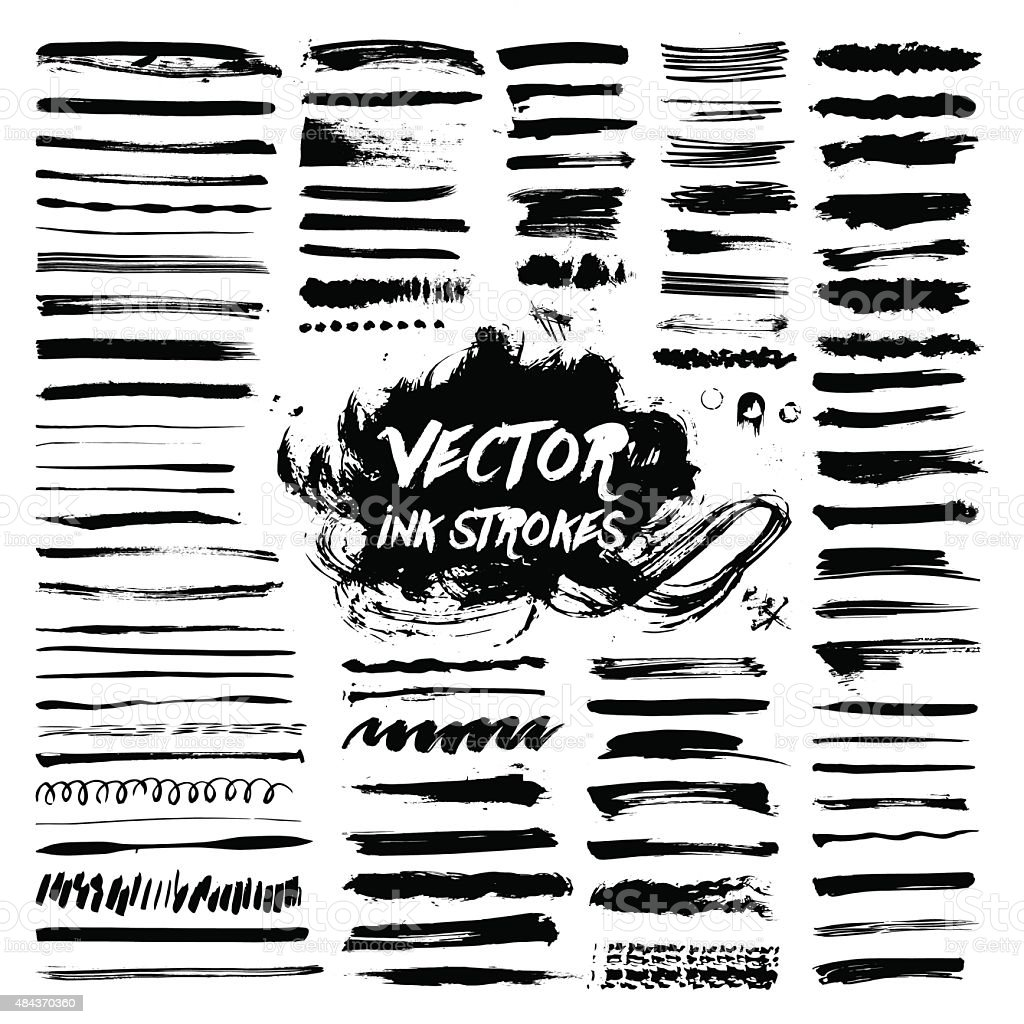 black ink brush vector strokes vector art illustration