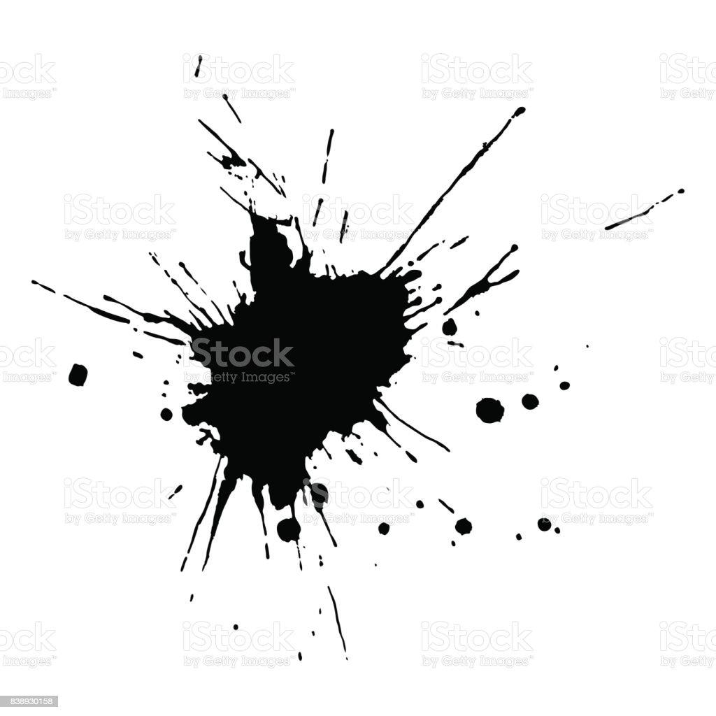 Goutte d'encre noire et splash, vector illustration image clipart - Illustration vectorielle