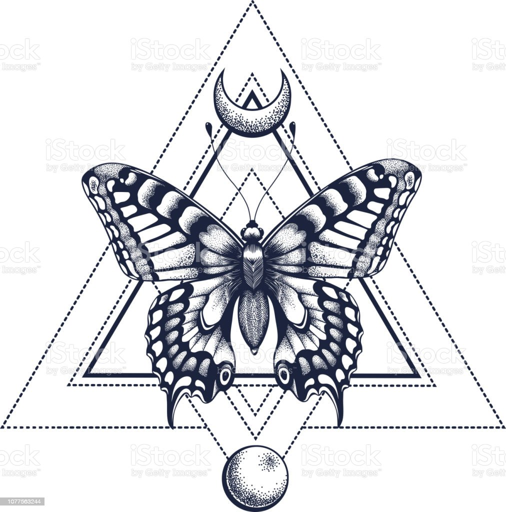 f047cf29afb0c Black Ink. Geometric butterfly with half moon and moon. Tattoo Design.  Mystical symbol