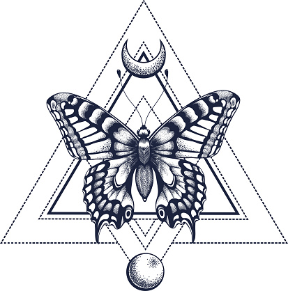 941ab4d6c ... Black Ink Geometric Butterfly With Half Moon And Moon Tattoo Design  Mystical Symbol Of Soul Immortalityresurrection