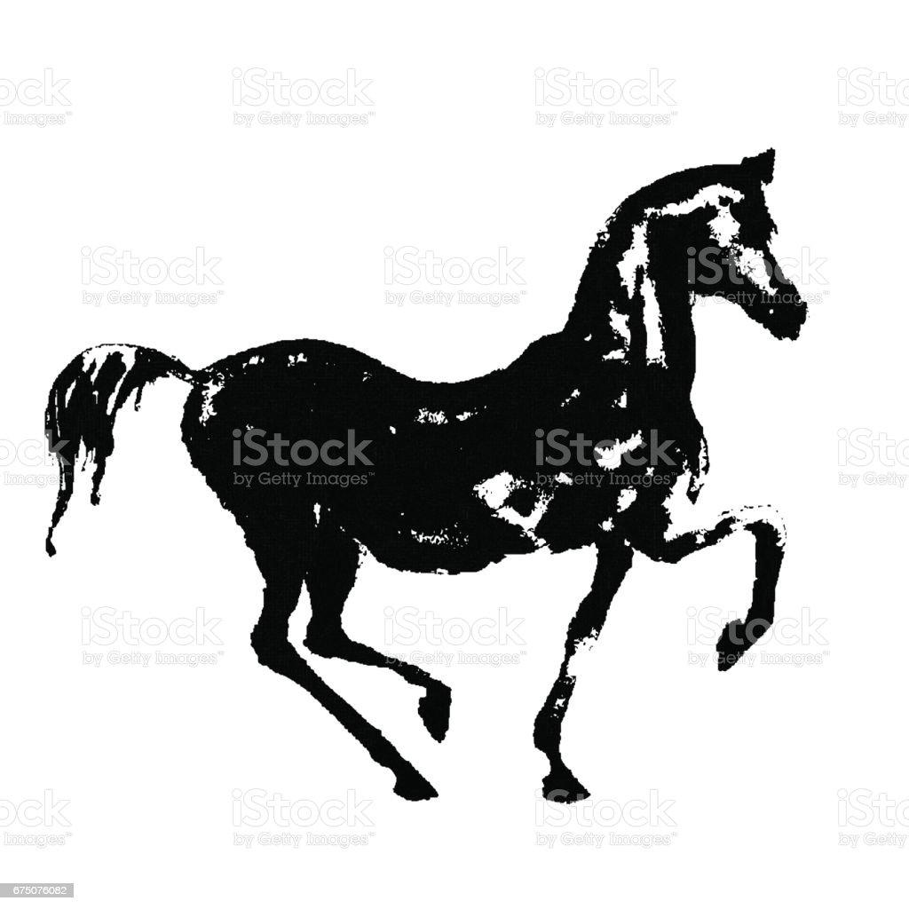 Black ink horse silhouette on white. vector art illustration