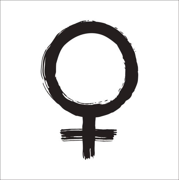 black ink mirror of venus symbol vector hand drawn illustration. - venus stock illustrations