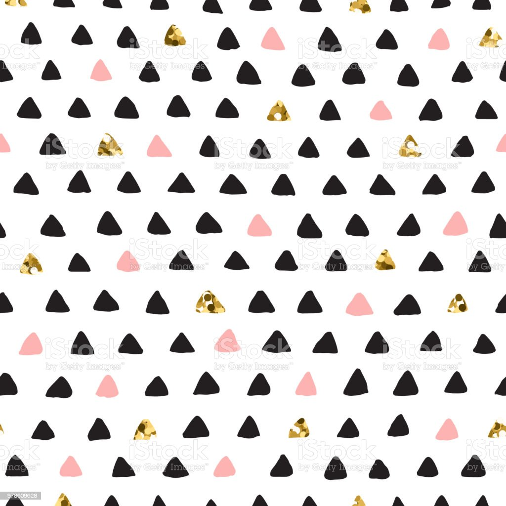 Black ink, white, pink and gold glitter hand drawn doodle vector...