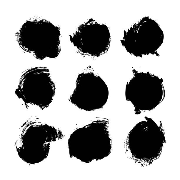 black ink round abstract textured paint strokes set isolated on white background - szczotkować stock illustrations