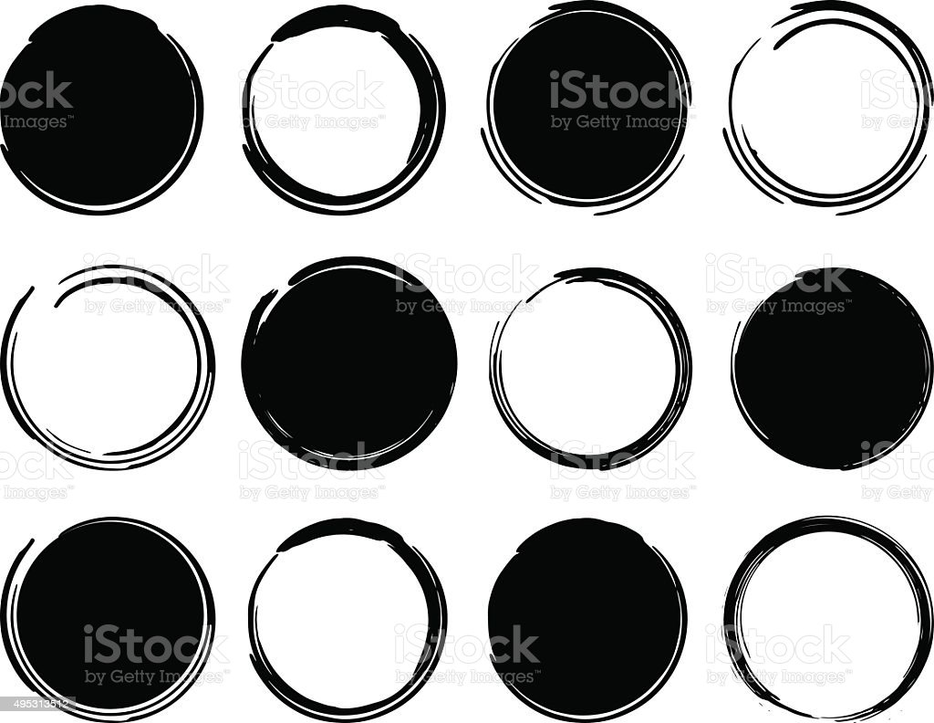 Black ink round frames vector art illustration