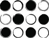 Black ink round frames