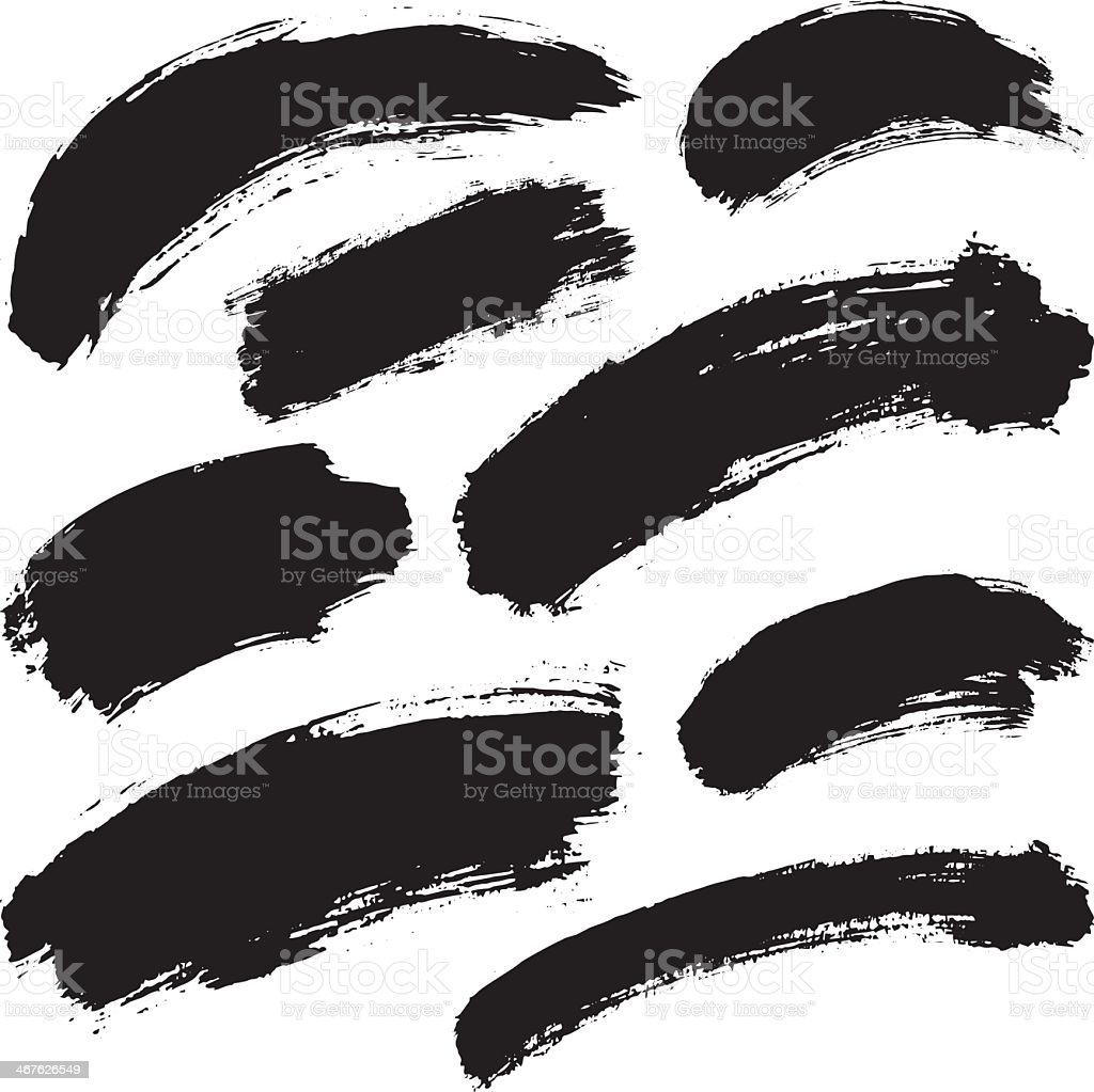 Black ink strokes on a white background vector art illustration