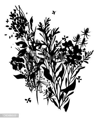 Black ink tattoo floral bouquet isolated on white. Flat background made of meadow plants, herbs and flowers.