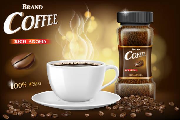 ilustrações de stock, clip art, desenhos animados e ícones de black instant coffee cup and beans ads design. 3d illustration of hot coffee mug product with bokeh background. vector - café solúvel