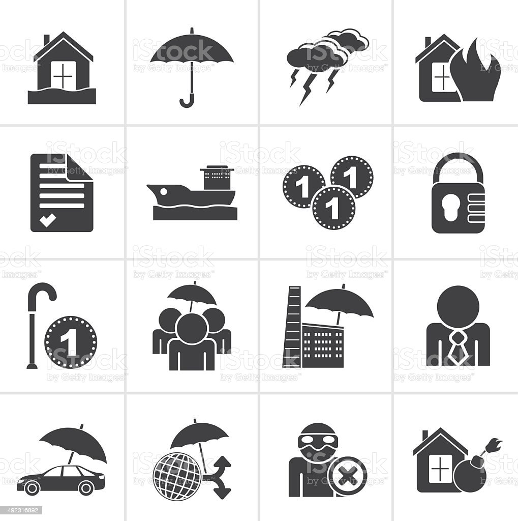 Black Insurance and risk icons vector art illustration