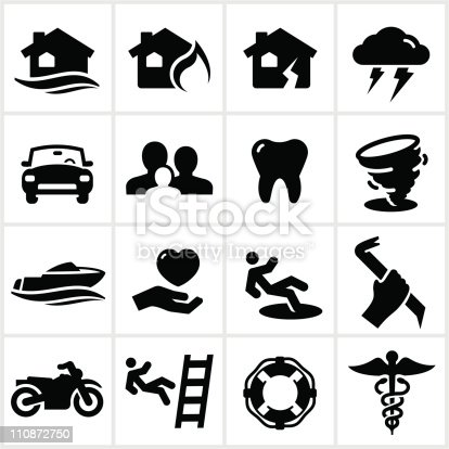 Black insurance icons. All white shapes and strokes are cut from the icons.