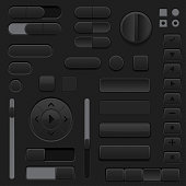 Black interface buttons. 3d set of UI icons