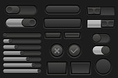 Black interface buttons set
