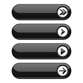 Black interface buttons with arrows. Vector illustration isolated on white background