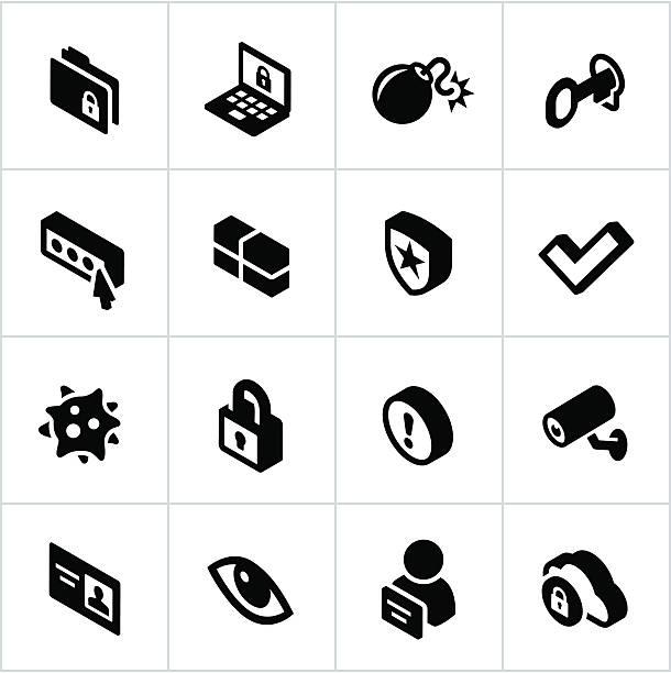 インターネットセキュリティのアイコンブラック - id盗難点のイラスト素材/クリップアート素材/マンガ素材/アイコン素材