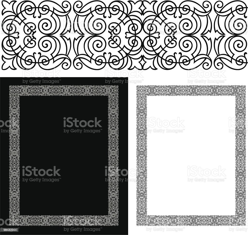 Bordo nero intricato e ornato bordo nero intricato e ornato - immagini vettoriali stock e altre immagini di bianco royalty-free