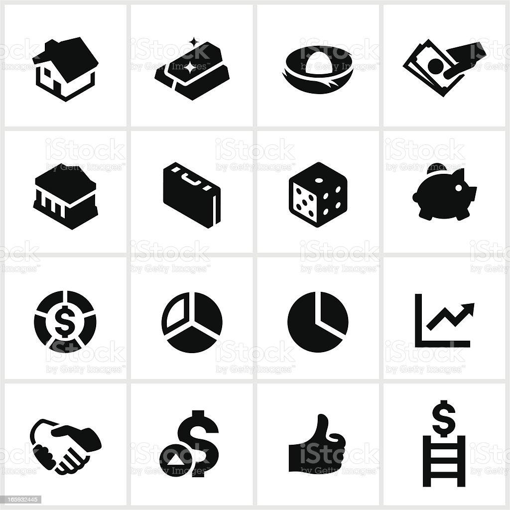 Black Investing Icons royalty-free stock vector art